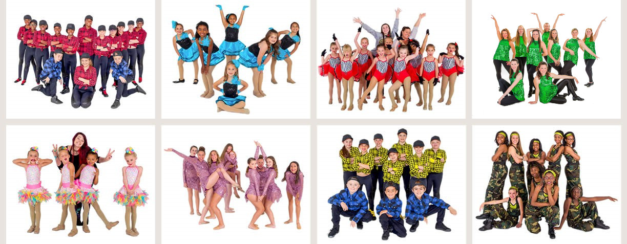 Classes in Ballet, Tap, Jazz, Hip Hop. Lyrical, Contemporary, Pointe, Floor Gymnastics, and Acrobatics